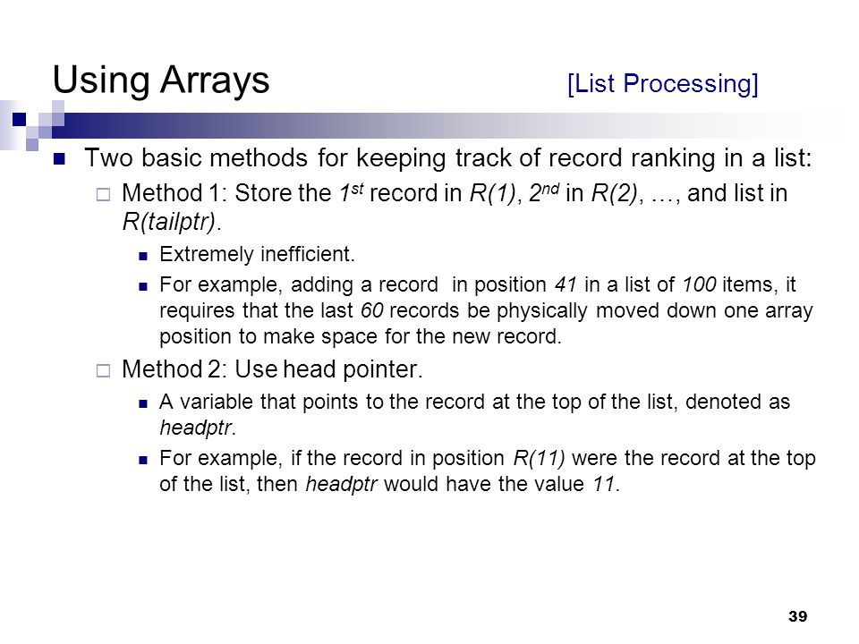 Using Arrays [List Processing]